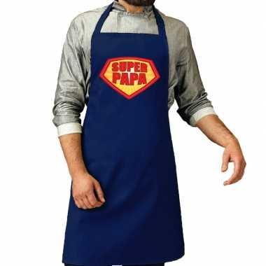 Camping super papa barbeque schort /keukenschort kobalt blauw voor he