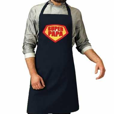 Camping super papa barbeque schort / keukenschort navy voor heren kop