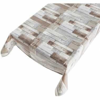 Camping tafellaken houten planken motief 140 x 170 cm kopen