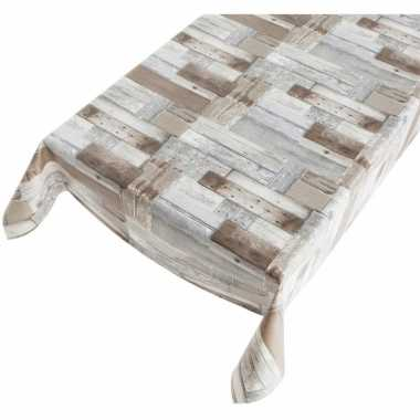 Camping tafellaken houten schrootjes motief 140 x 240 cm kopen