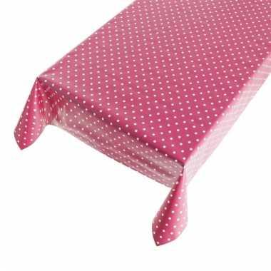 Camping tafelzeil polkadot roze 140 x 240 cm kopen
