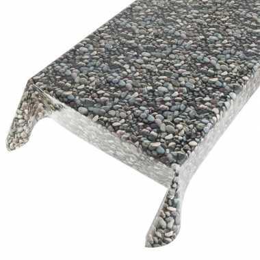 Camping talfelzeil grijs/blauw met stenen motief 140 x 240 cm kopen