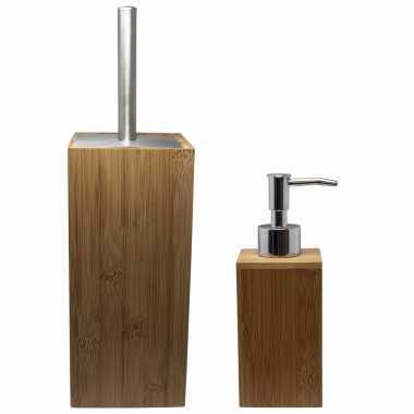 Camping toilet/badkamer/wc set toiletborstel met zeeppompje van bamboe kopen
