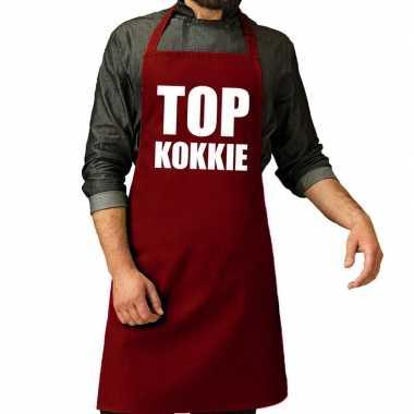 Camping top kokkie barbeque schort / keukenschort bordeaux rood voor