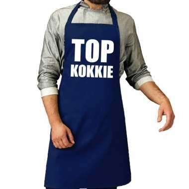 Camping top kokkie barbeque schort / keukenschort kobalt voor heren k