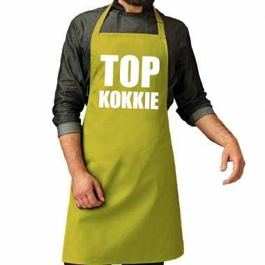 Camping top kokkie barbeque schort / keukenschort lime groen heren ko