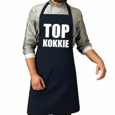 Camping top kokkie barbeque schort / keukenschort navy voor heren kop