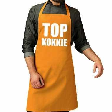 Camping top kokkie barbeque schort / keukenschort oker geel heren kop
