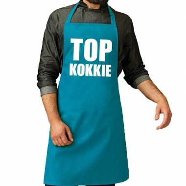 Camping top kokkie barbeque schort / keukenschort turquoise blauw her