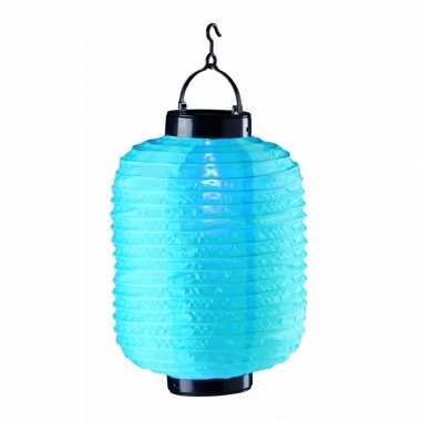 Camping tuin / balkon lampion op zonne energie blauw kopen