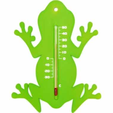 Camping tuin decoratie dieren groene kikkers buitenthermometer 15 cm