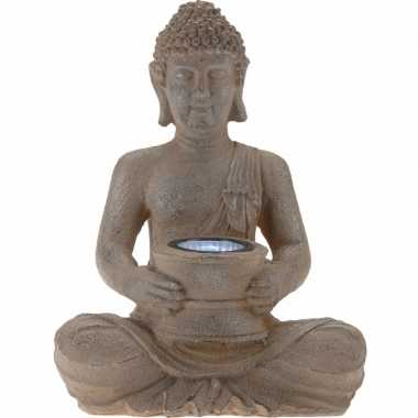 Camping tuinlampjes bruine boeddha op zonne energie 28 cm kopen
