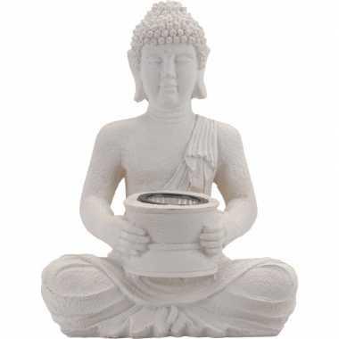 Camping tuinlampjes witte boeddha op zonne energie 28 cm kopen