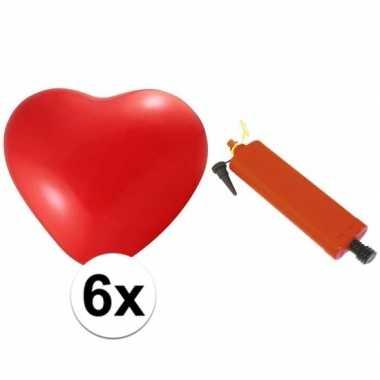 Camping valentijn ballonnenset 6 hartjes met pomp kopen