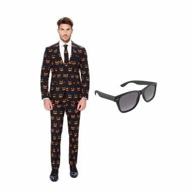 Camping verkleed pompoen print net heren kostuum maat 56 xxxl met gratis zonnebril kopen