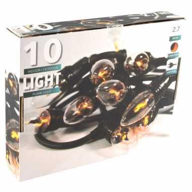 Camping vlamverlichting lichtsnoer met 10 flame effect lampjes 150 cm kopen