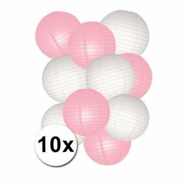 Camping  Voordeelset roze en witte lampionnen kopen
