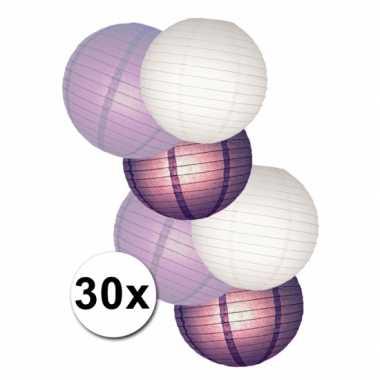 Camping  Voordeelset witte en paarse lampionnen kopen