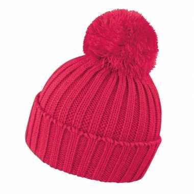 Camping winter muts met pompon voor volwassenen roze/rood kopen