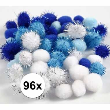Camping wit/blauwe decoratieve pompons 15-20 mm kopen
