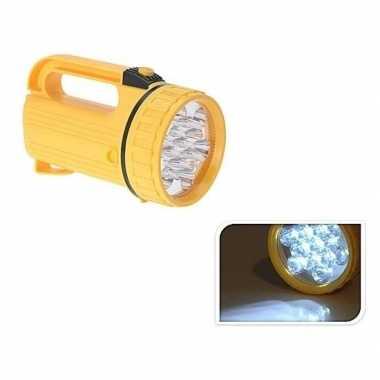 Camping zaklamp geel met led verlichting 20 cm kopen