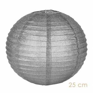 Camping  Zilveren glitter lampionnen 25 cm kopen