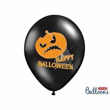 Camping zwarte happy halloween ballonnen met pompoen 6 stuks kopen