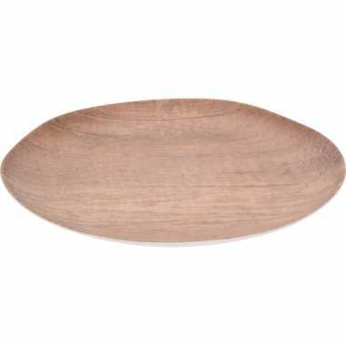 Diner bord voor camping houtprint 27 cm kopen