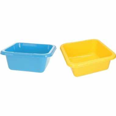 Gele en blauwe camping afwasbak 15 l kopen