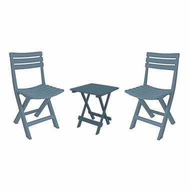 Grijsblauw vouwbaar camping tafeltje met stoeltjes kopen