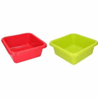Groene en rode camping afwasbak 15 l kopen