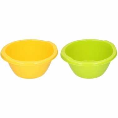 Groene / gele camping afwasbak 6,5 l kopen
