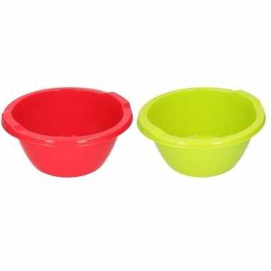 Groene/rode camping afwasbak 6,5 l kopen