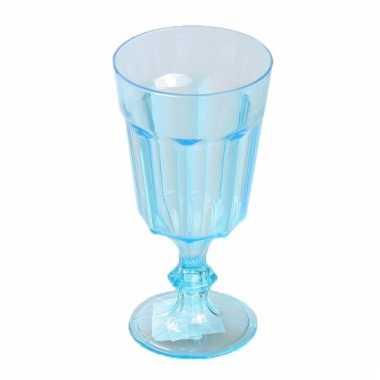 Plastic camping wijnglas blauw 15 cm kopen