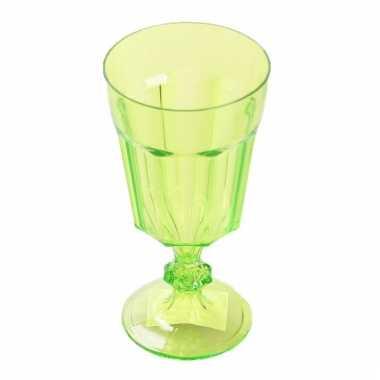 Plastic camping wijnglas groen 15 cm kopen