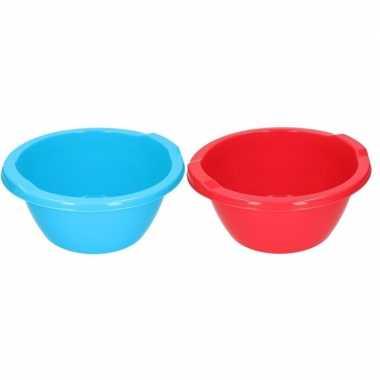 Rode / blauwe camping afwasbak 6,5 l kopen