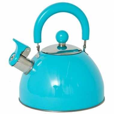 Rvs camping fluit ketel blauw 2 5 liter kopen