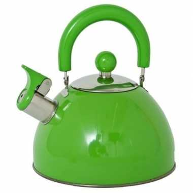 Rvs camping fluit ketel groen 2,5 liter kopen