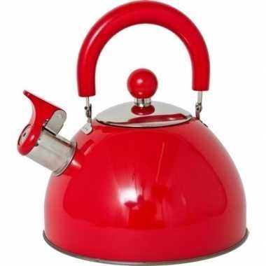 Rvs camping fluit ketel rood 2,5 liter kopen