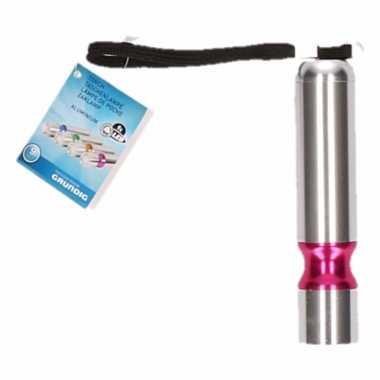 Zilver/roze led camping zaklamp kopen