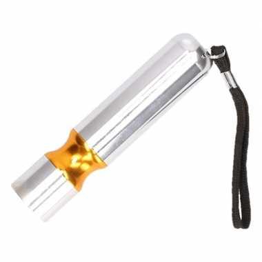 Zilveren met oranje accent led camping zaklamp kopen