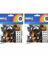 Camping 130x dierenprint hobby pompoms met 10 plakoogjes kopen