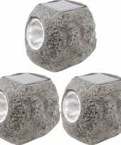 Camping 14x solarlamp stenen op zonne energie 10 cm met koel witte verlichting kopen