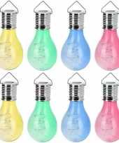 Camping 16x solar hang lampenbolletjes gekleurd op zonne energie 15 cm tuinverlichting kopen