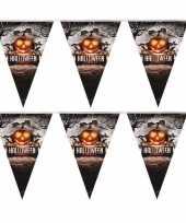 Camping 2x halloween decoratie vlaggenlijn pompoenen 250 cm kopen
