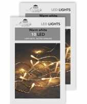 Camping 2x kerstverlichting op batterijen warm wit 10 lampjes 100 cm kopen