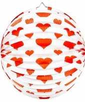 Camping 2x ronde rood witte bollampion met hartjes kopen