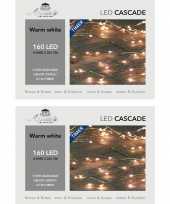 Camping 2x stuks cascade draadverlichting zilver met 160 warm witte lampjes kopen