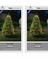 Camping 2x stuks kerstboom lichtnetten netverlichting met timer 240 lampjes warm wit kopen