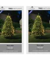 Camping 2x stuks kerstboom lichtnetten netverlichting met timer 320 lampjes warm wit kopen
